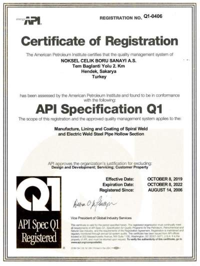 API SPECIFICATION Q1/0406 HENDEK (SPR-ERW)